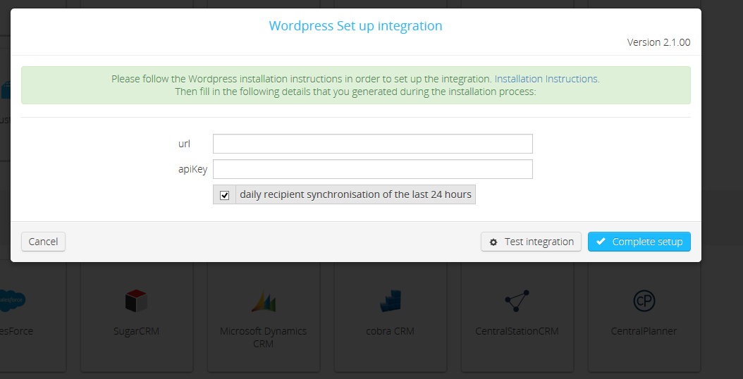 Set up WordPress integration